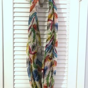 Infinity scarf with multi colored feathers